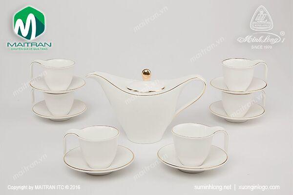 Bộ trà gốm sứ Minh Long Bộ cà phê 0.45L Anh Vũ chỉ vàng
