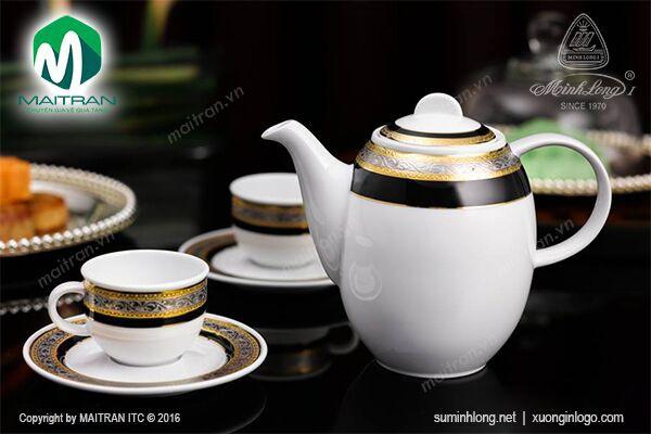 Bộ trà gốm sứ Minh Long Bộ cà phê 1.3L Hoa hồng đen