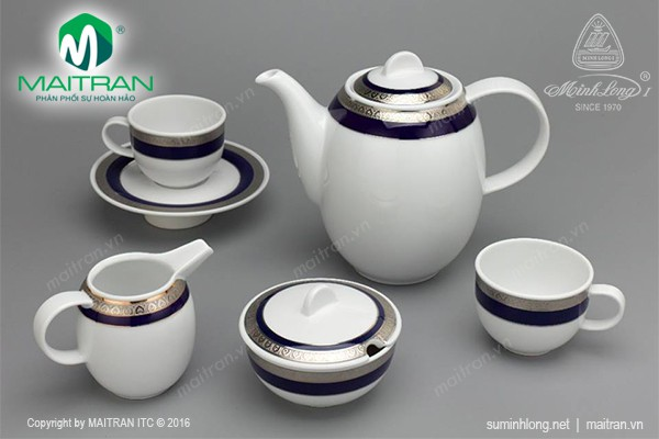 Bộ trà gốm sứ Minh Long Bộ cà phê Sago 1.3L Thiên Tuế Xanh