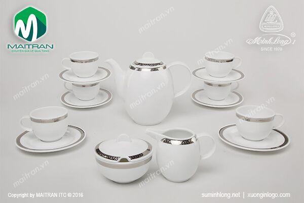 Bộ trà gốm sứ Minh Long Bộ cà phê 1.3L Thiên Tuế