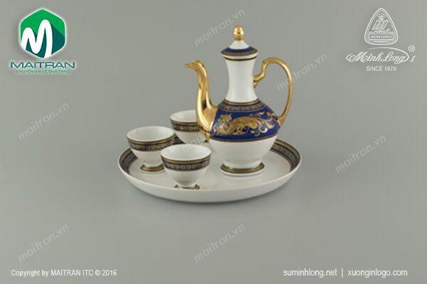 Bộ trà gốm sứ Minh Long Bộ khay rượu Cẩm Tú