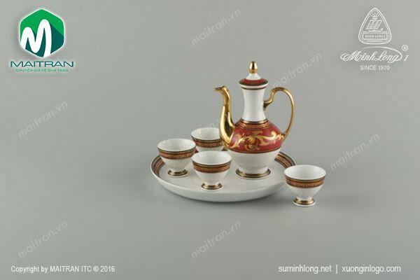 Bộ trà gốm sứ Minh Long Bộ khay rượu Quốc sắc