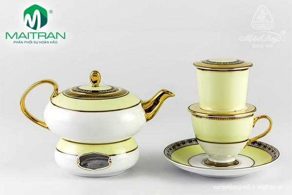 Bộ trà gốm sứ Minh Long Bộ pha trà nghệ thuật Hoàng Kim