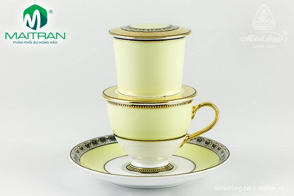 Bộ trà gốm sứ Minh Long Bộ phin trà nghệ thuật Hoàng Kim