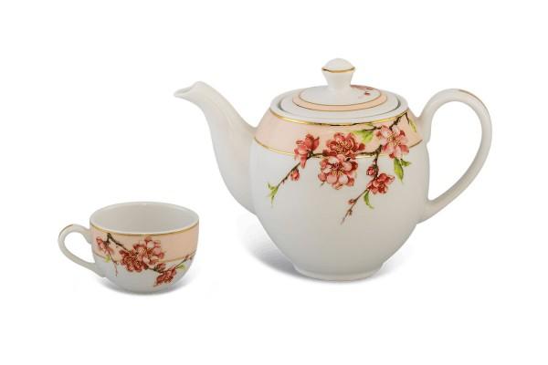 Bộ trà gốm sứ Minh Long Bộ trà Camellia Hoa Đào 0.8L