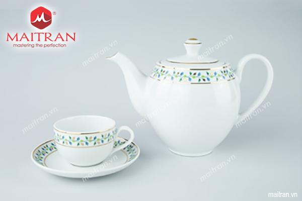 Bộ trà gốm sứ Minh Long Bộ trà 0.8L Camellia Ngọc Diệp