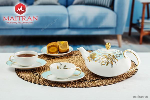 Bộ trà gốm sứ Minh Long Bộ trà 0.47L elip Anna An Nhiên