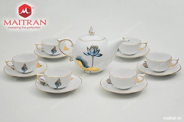 Bộ trà gốm sứ Minh Long Bộ trà 0.7L Mẫu Đơn Tịnh Tâm vàng