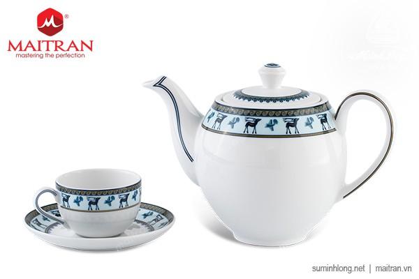 Bộ trà gốm sứ Minh Long Bộ trà 0.8L Camellia Lộc Lạc