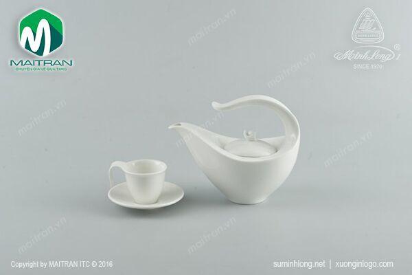 Bộ trà gốm sứ Minh Long Bộ trà 0.45L Anh Vũ trắng ngà