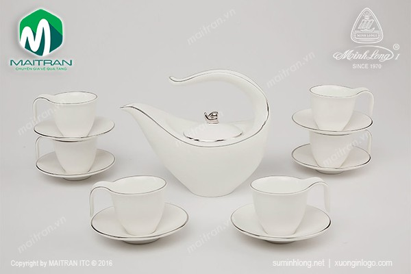 Bộ trà gốm sứ Minh Long Bộ trà  0.45L Anh Vũ chỉ bạch kim