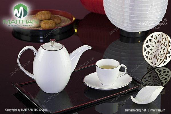 Bộ trà gốm sứ Minh Long Bộ trà  0.47L Anna cao chỉ bạch kim