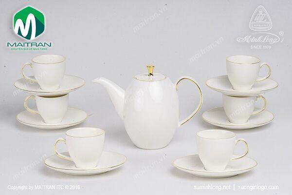 Bộ trà gốm sứ Minh Long Bộ trà  0.47L Anna cao chỉ vàng