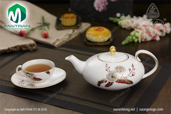 Bộ trà gốm sứ Minh Long Bộ trà Anna Thiên Kim