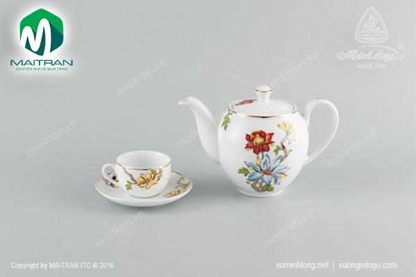 Bộ trà gốm sứ Minh Long Bộ trà 0.8L Camellia Cát Tường