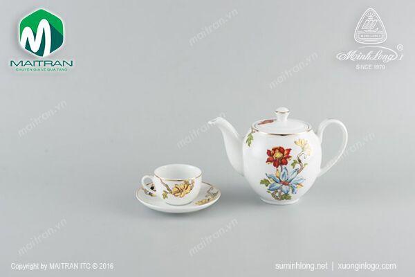 Bộ trà gốm sứ Minh Long Bộ trà 1.1L Camellia Cát Tường