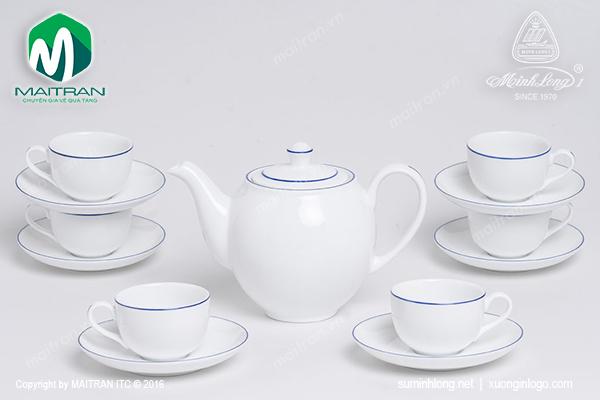 Bộ trà 0.8L Camellia chỉ xanh dương