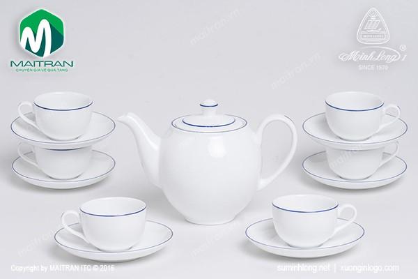 Bộ trà gốm sứ Minh Long Bộ trà 0.8L Camellia chỉ xanh dương