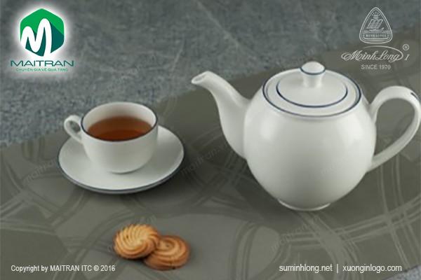 Bộ trà gốm sứ Minh Long Bộ trà 1.1L Camellia chỉ xanh dương