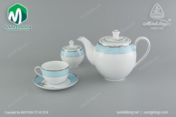 Bộ trà gốm sứ Minh Long Bộ trà 1.1L Camellia Hương Biển Xanh