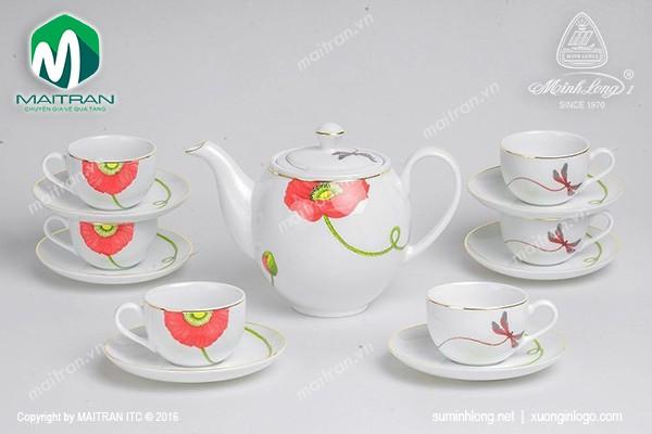 Bộ trà gốm sứ Minh Long Bộ trà  0.8L Camellia Kết Duyên