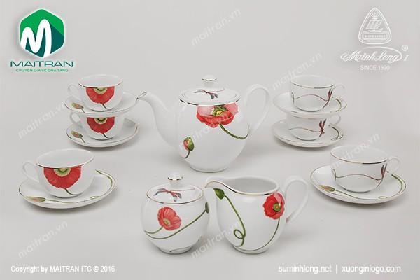 Bộ trà gốm sứ Minh Long Bộ trà 1.1L Camellia Kết Duyên