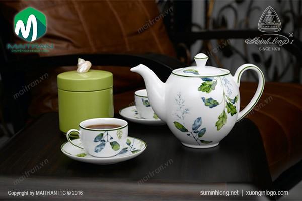 Bộ trà gốm sứ Minh Long Bộ trà  0.8L Camellia Lá Xanh