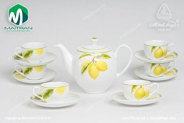 Bộ trà gốm sứ Minh Long Bộ trà 0.8L Camellia Quả Chanh