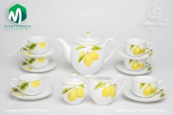 Bộ trà gốm sứ Minh Long Bộ trà 1.1L Camellia Quả Chanh
