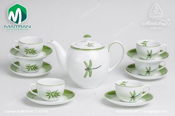 Bộ trà gốm sứ Minh Long Bộ trà 0.8L Camellia Thanh Đình