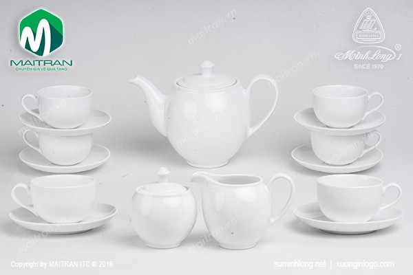 Bộ trà gốm sứ Minh Long Bộ trà 1.1L Camellia trắng