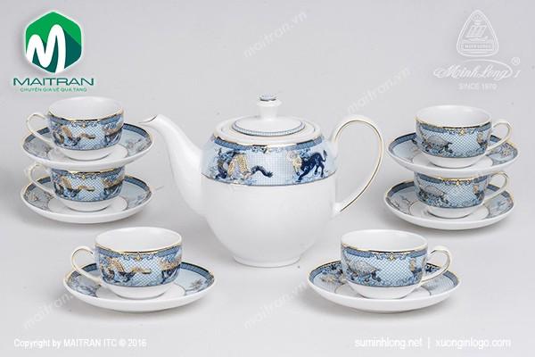 Bộ trà gốm sứ Minh Long Bộ trà 0.8L Camellia Tứ Linh