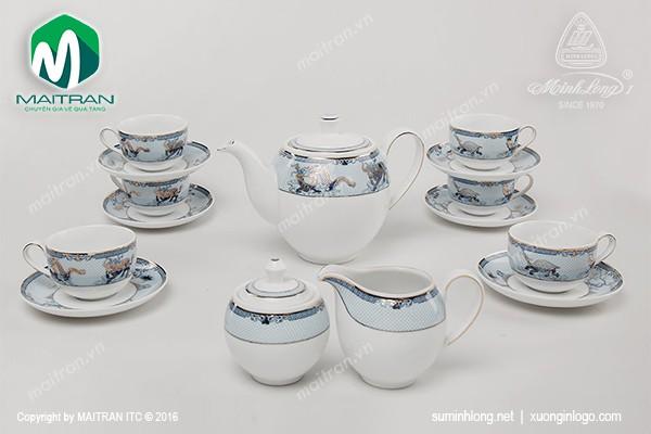 Bộ trà gốm sứ Minh Long Bộ trà 1.1L Camellia Tứ Linh