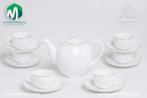 Bộ trà gốm sứ Minh Long Bộ trà 0.5L Camellia viền chỉ vàng