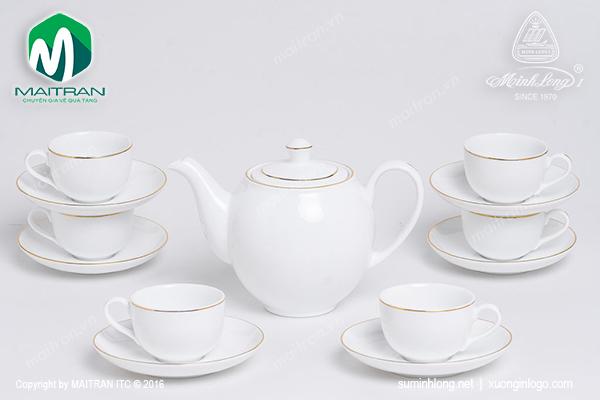 Bộ trà  0.8L Camellia viền chỉ vàng