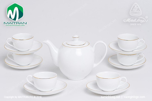 Bộ trà gốm sứ Minh Long Bộ trà  0.8L Camellia viền chỉ vàng