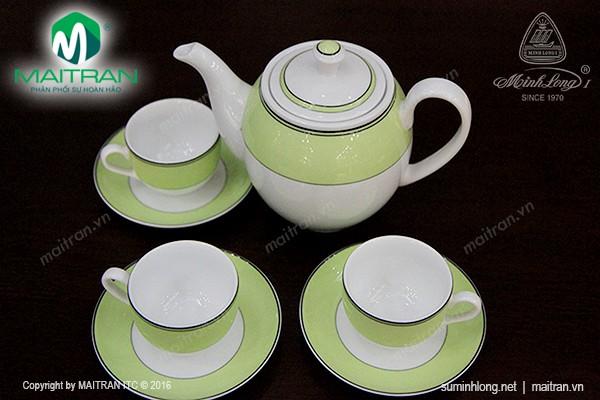 Bộ trà gốm sứ Minh Long Bộ trà 0.8L Camellia Xanh Lá Non