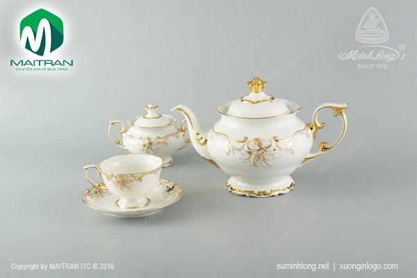 Bộ trà gốm sứ Minh Long Bộ trà 1.3L Đài Các Hoa Vàng