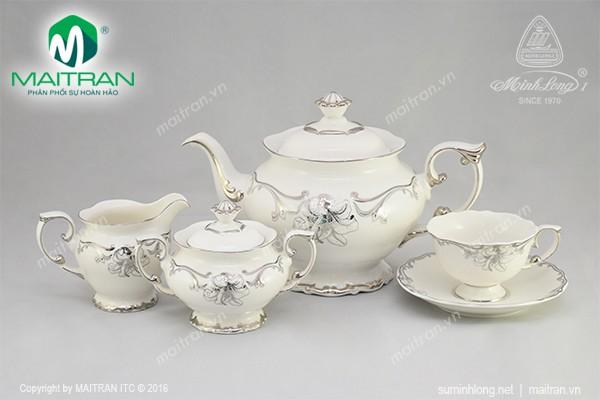 Bộ trà gốm sứ Minh Long Bộ trà 1.3L Đài Các Trang Trí Bạch Kim