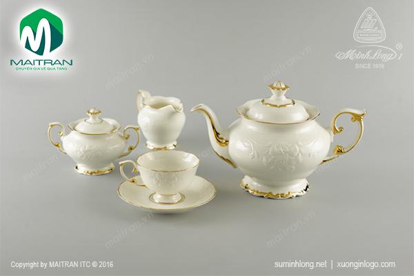 Bộ trà 1.3L Đài Các viền chỉ vàng