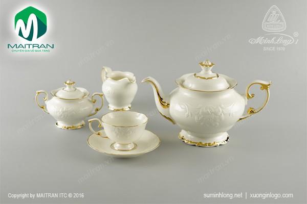 Bộ trà gốm sứ Minh Long Bộ trà 1.3L Đài Các viền chỉ vàng