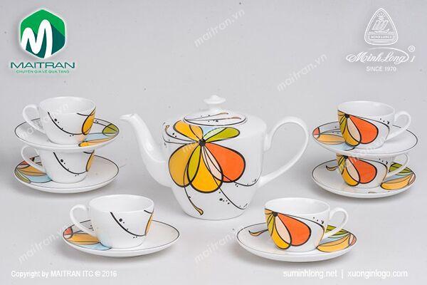 Bộ trà gốm sứ Minh Long Bộ trà  0.65L Daisy Bóng Bay