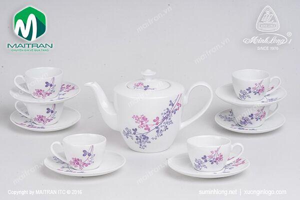 Bộ trà gốm sứ Minh Long Bộ trà  0.65L Daisy Cỏ tím