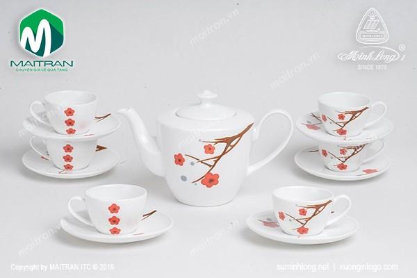 Bộ trà gốm sứ Minh Long Bộ trà 0.65L Daisy Hồng Mai