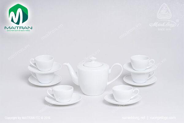 Bộ trà gốm sứ Minh Long Bộ trà 0.65L Daisy Trắng