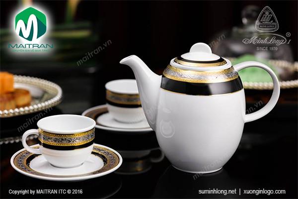 Bộ trà gốm sứ Minh Long Bộ trà 0.8L Hoa Hồng Đen khắc nổi