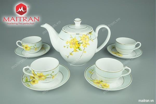 Bộ trà gốm sứ Minh Long Bộ trà 0.8L Camellia Hoa Mai