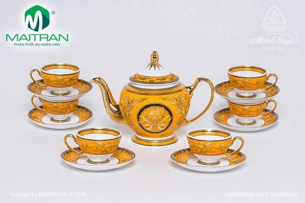 Bộ trà gốm sứ Minh Long Bộ trà 0.8L Hoàng Bào Sen