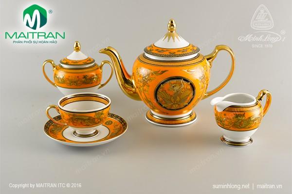 Bộ trà gốm sứ Minh Long Bộ trà 1.3L Hoàng bào sen