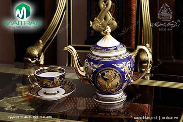 Bộ trà gốm sứ Minh Long Bộ trà 1.3L Hoàng Cung Cẩm Tú